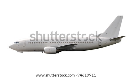 Modern passenger jet airplane side view - stock photo