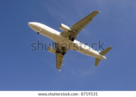 Modern passenger jetliner taking off against blue sky
