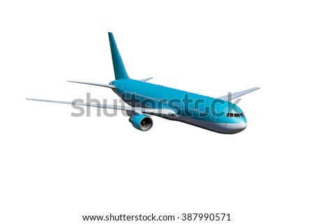 Modern passenger plane. Wide-body Aircraft painting in blue - turquoise color.  - stock photo