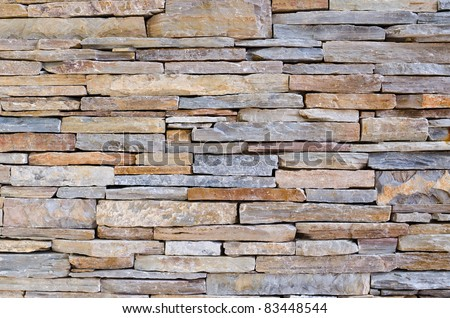 modern pattern of stone wall decorative surfaces - stock photo