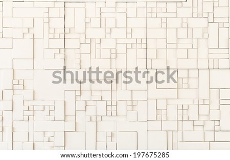 modern pattern square shape of artificial stone wall decorative surface - stock photo