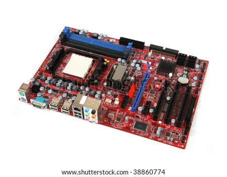 Modern PC computer mainboard. Electronic board isolated against white background. Logos and trademarks removed.