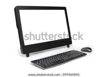 Modern personal office computer with keyboard, mouse and blank white screen. Isolated on white background