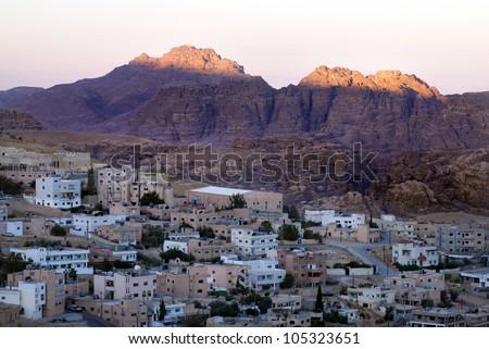 Modern Petra, Jordan at sunrise. Aerial view  - stock photo