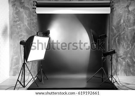 Modern photo studio interior with professional lighting equipment & Modern Photo Studio Interior Professional Lighting Stock Photo ... azcodes.com