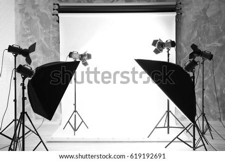 Modern photo studio interior with professional lighting equipment & Empty Photo Studio Lighting Equipment Bags Stock Photo 383514031 ... azcodes.com