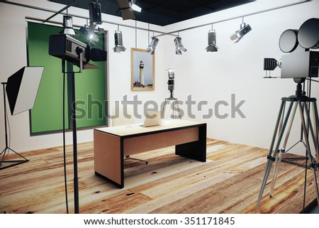 Modern photo studio with furniture and old style movie camera 3D Render - stock photo