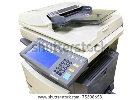 Modern photocopier with digital display isolated on white background