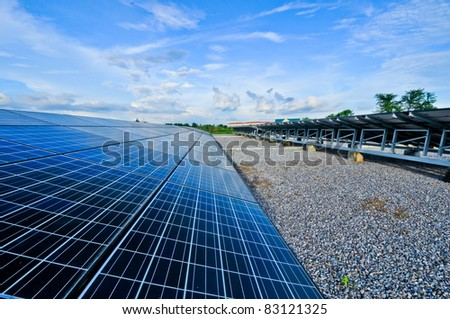Modern Photovoltaic cells in a solar panel - stock photo