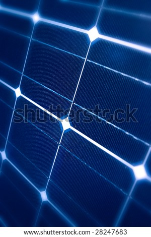 Modern Photovoltaic cells in a solar panel in a perspective view