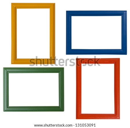 Modern picture frames isolated on white background - stock photo