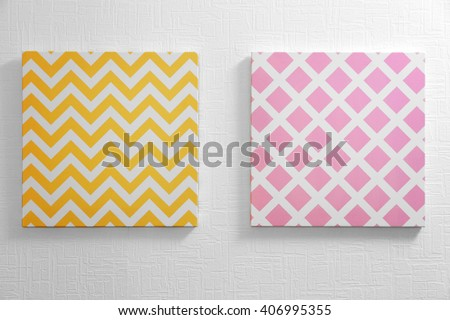 Modern pictures on the wall - stock photo