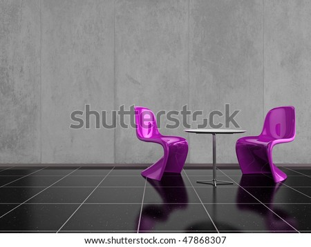 Modern pink chairs on a shiny black stone floor
