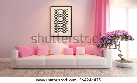 modern pink interior design with pink seat and bonsai tree 3d rendering by sedat seven - stock photo