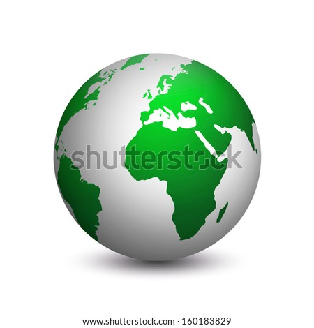Modern planet earth colored in green and gray isolated on white background - stock photo