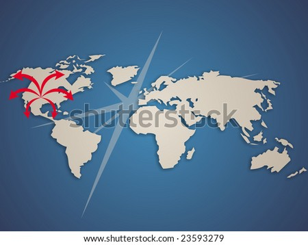 Modern planisphere with arrows comming out from USA. - stock photo