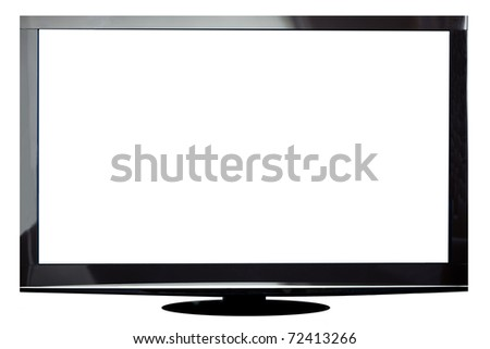 Modern plasma TV isolated on white with clipping path for the screen - stock photo
