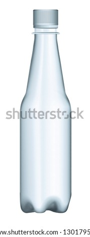 Modern plastic bottle package with plastic cup isolated on white background. Front/presentation view. - stock photo