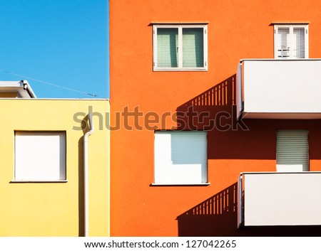 modern plattenbau in italy - stock photo