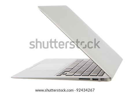 Modern popular laptop notebook computer thin and light  isolated on a white background - stock photo