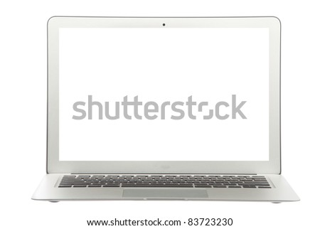 Modern popular  laptop thin and light with clipping path and white screen isolated on a white background - stock photo