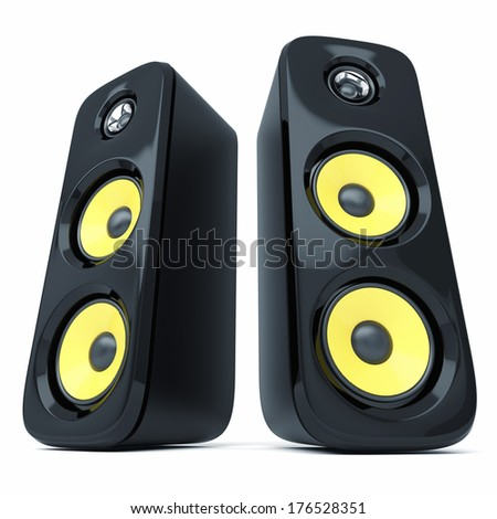 Modern power sound speakers isolated on white background - stock photo
