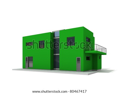 Modern private green house exterior isolated over white 3d - stock photo