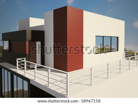 Modern private house exterior 3d render - stock photo