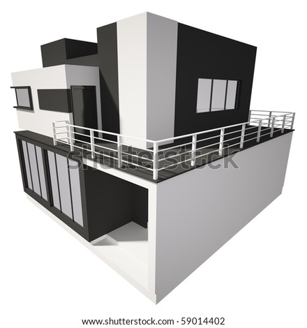Modern private house exterior isolated over white 3d - stock photo