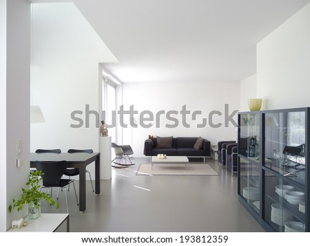 modern private living and dining room with copy space for your own images - stock photo