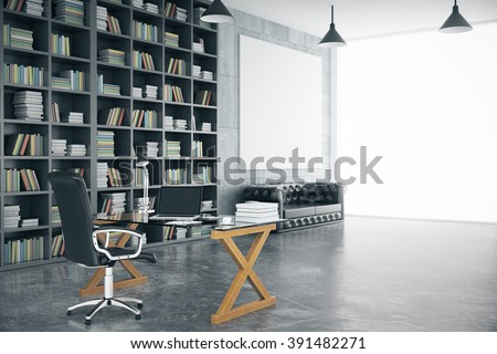 Modern private office with blank poster, bookshelf and workplace, mock up, 3D Render - stock photo