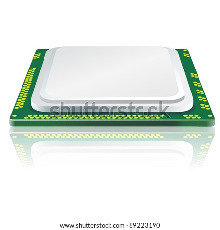 Modern processor with reflection. - stock photo