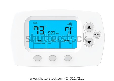 Modern Programming Thermostat on a white background - stock photo