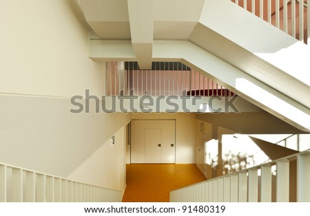 modern public school, staircase - stock photo
