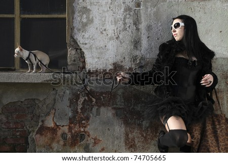 modern punk fashion, close-up of a beautiful model posing dressed In vintage clothes - stock photo