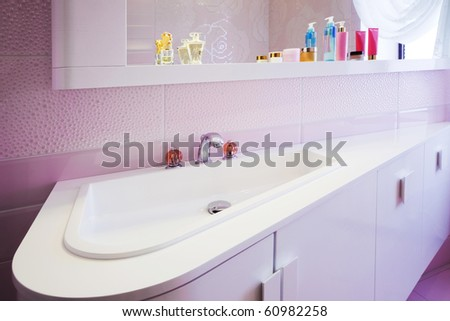 modern purple bathroom in a modern apartment - stock photo