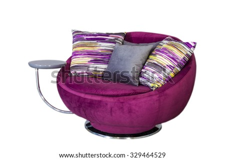 Modern purple chair isolated on white background - stock photo
