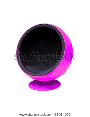 Modern purple cocoon ball chair isolated on white background - stock photo