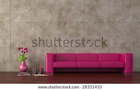Modern purple leather sofa with tulips - stock photo