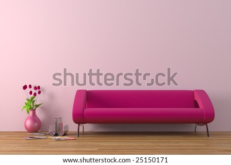 Modern purple sofa with tulips - stock photo