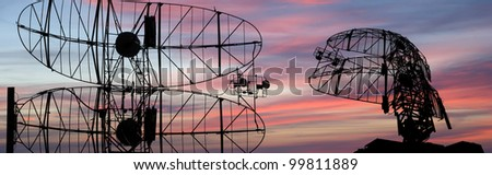 Modern radar is designed  and automatic tracking of targets and missiles - stock photo