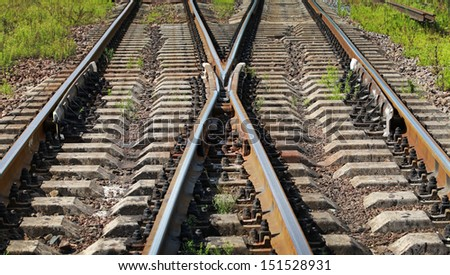 Modern railroad junction perspective. Transportation photo background - stock photo