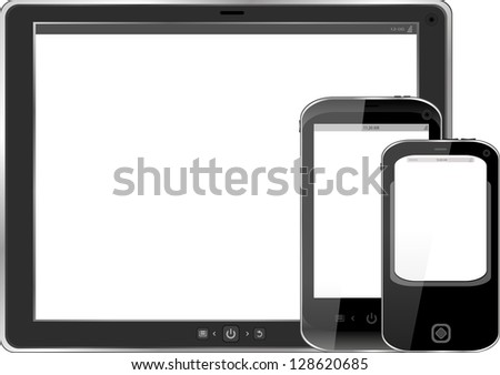 Modern realistic digital tablet PC with smart phone set on white background, raster - stock photo
