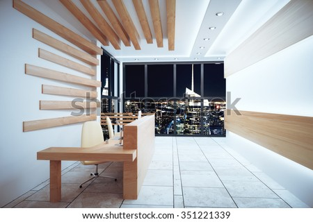 Modern reception area with night city view and windows in floor 3D Render - stock photo