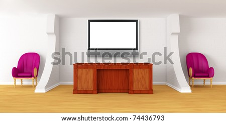 Modern reception with lcd tv