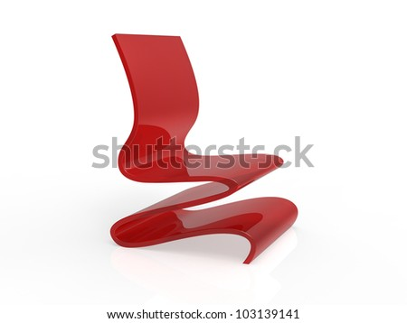Modern Red Acrylic Curved Chair on a white background - stock photo