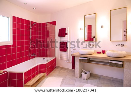 Modern  red and white bathroom interior