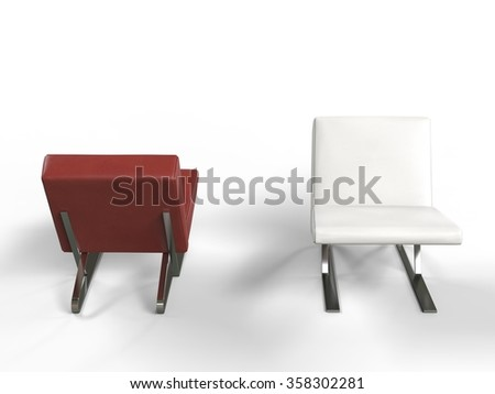 Modern red and white leather armchairs - stock photo
