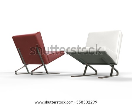 Modern red and white leather armchairs - side view - stock photo