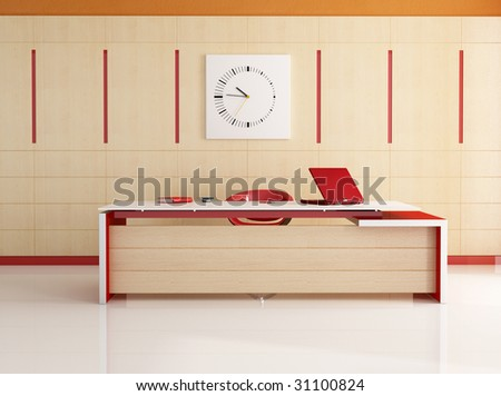 modern red and white office -rendering - stock photo